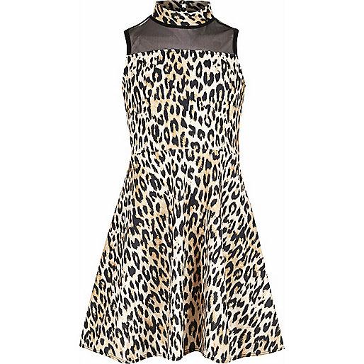 Girls leopard print mesh panel scuba dress