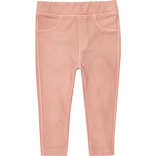 Mini girls peach denim look leggings set