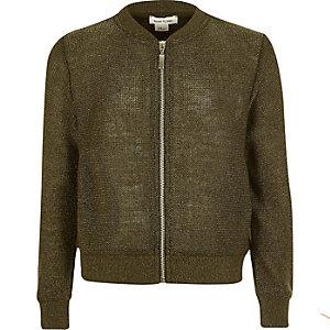 Girls khaki knit bomber jacket