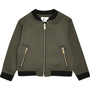 Mini girls khaki bomber jacket