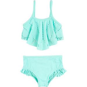 Mini girls turquoise laser cut bikini