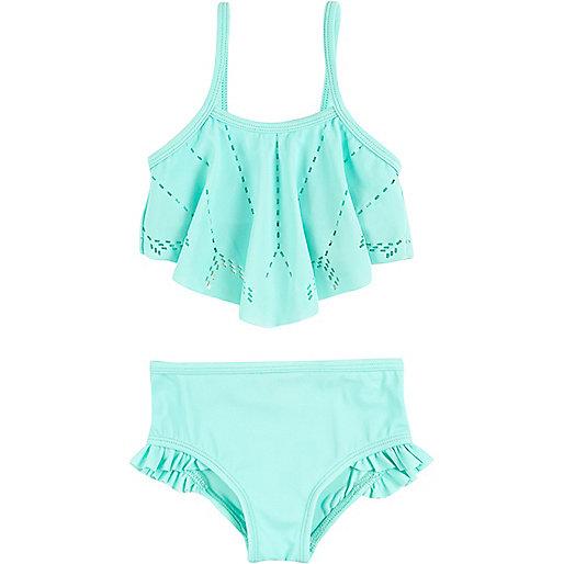 Bikini turquoise avec découpes au laser mini fille