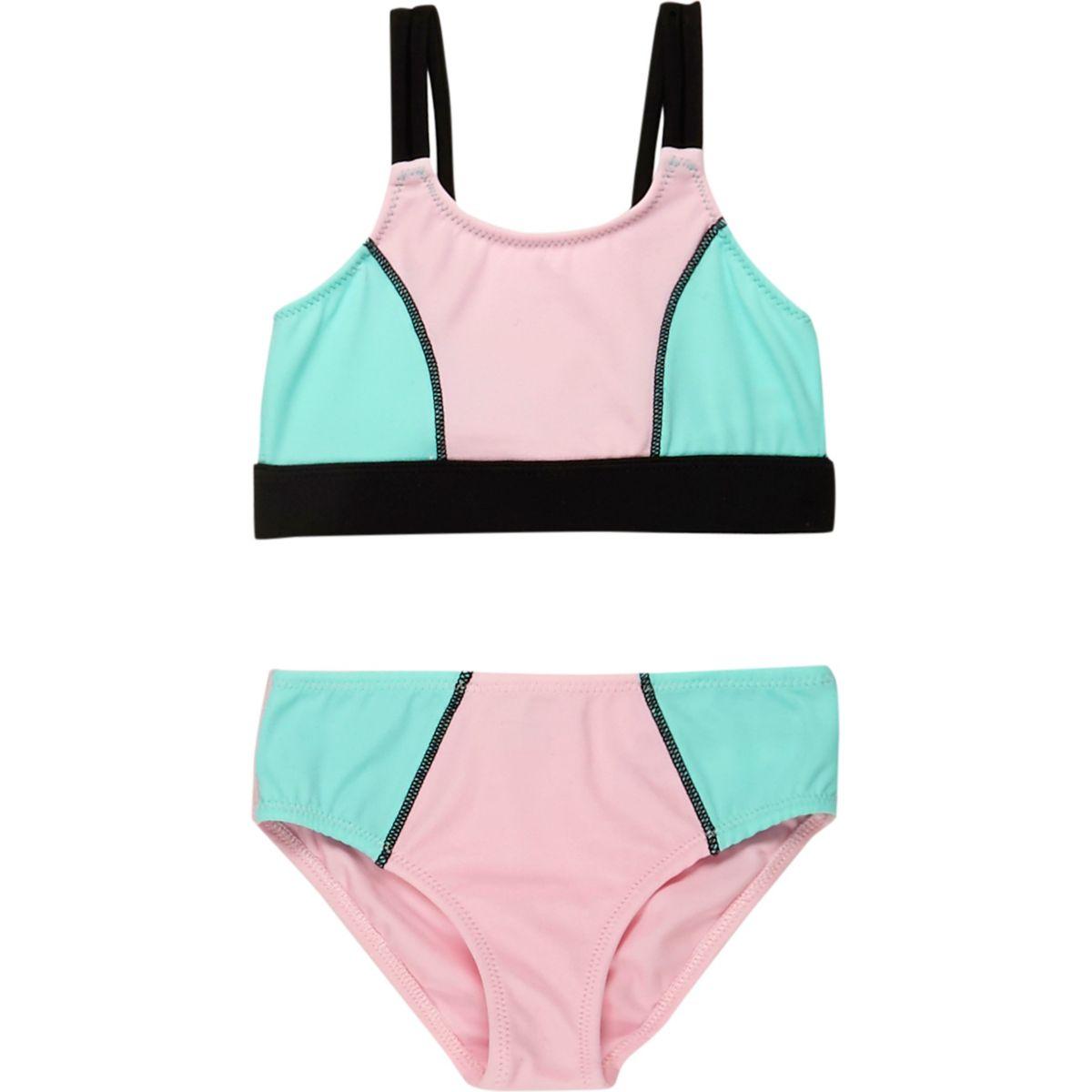 Mini girls pink colour block bikini