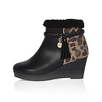 Girls black animal print wedge boots