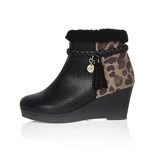 Girls black animal print wedge boots