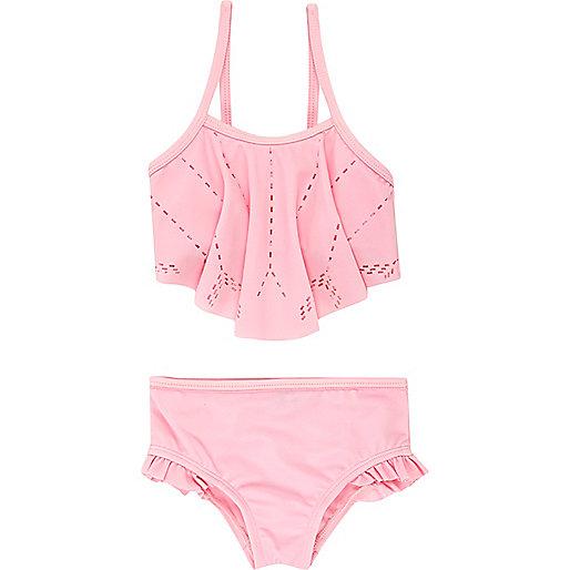 Mini girls pink laser cut bikini
