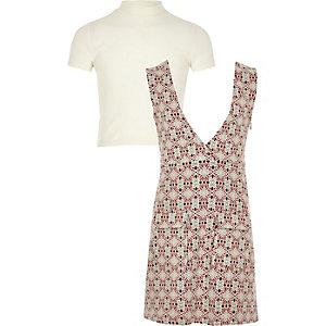 Girls red print dress and t-shirt set