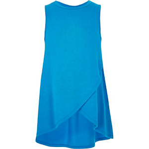 Girls blue wrap front top