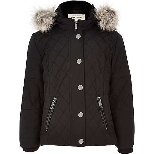 Girls black hooded quilt jacket