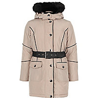 Girls light pink hooded parka