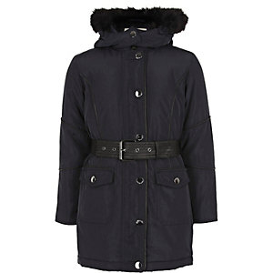 Girls navy hooded parka