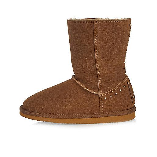 Girls tan studded soft boots