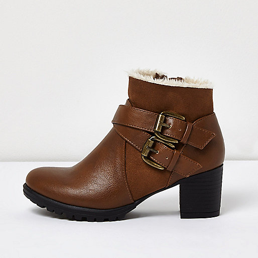 Girls brown double buckle ankle boots