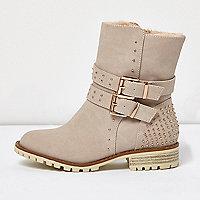 Girls cream buckle fur lined heeled boots