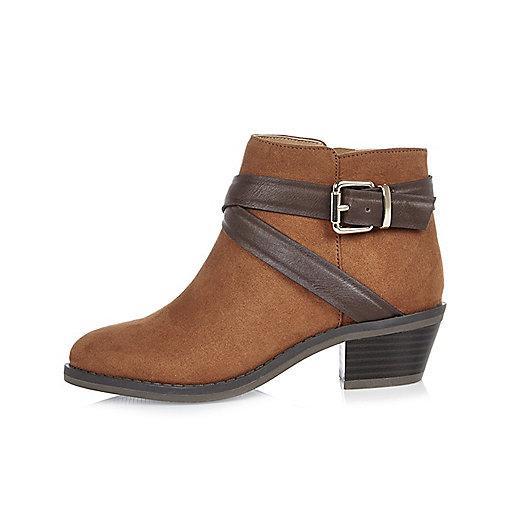 Girls brown wraparound western boots