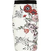 Girls white floral print tube skirt