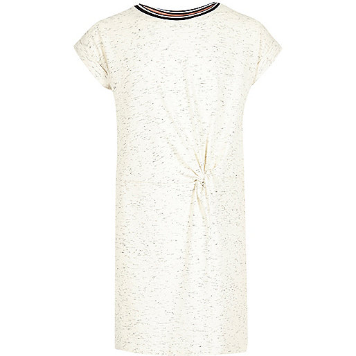Girls cream sporty trim t-shirt dress