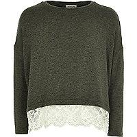 Girls khaki lace hem slouch sweater