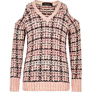 Girls pink checked cold shoulder sweater