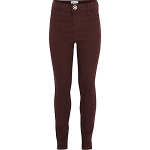 Girls berry high-waisted Molly jeggings