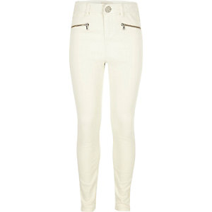 Girls white zip slim fit jeans