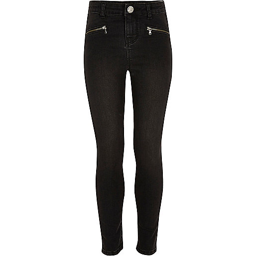 Girls black washed zip slim fit jeans