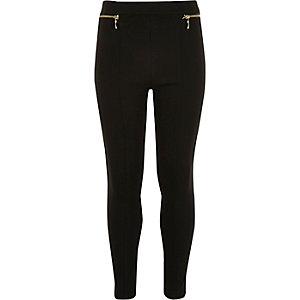 Girls ponte zip leggings