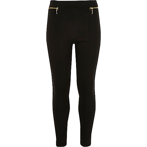Girls ponte zip leggings