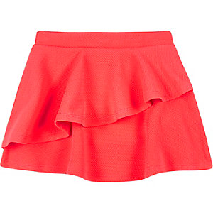 Mini girls fluro pink double layer skirt