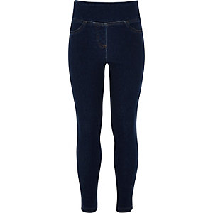 Girls blue denim-look leggings