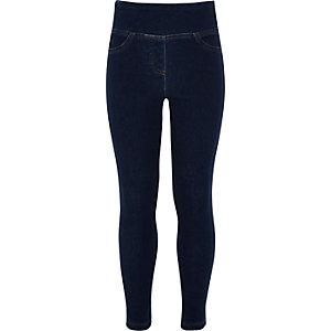 Blauwe legging in denimlook voor meisjes