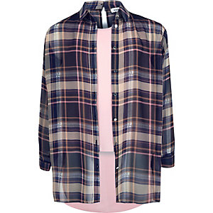 Girls pink check double layer shirt