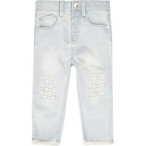 Mini girls light blue wash crochet jeans