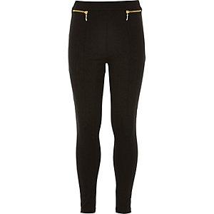 Girls black zip leggings