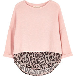 Mini girls pink leopard print layered top
