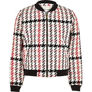 Girls pink checked bomber jacket