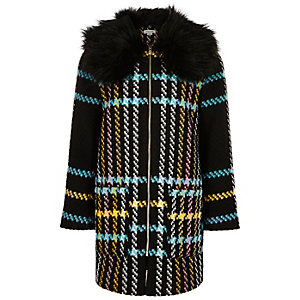 Girls black checked faux fur collar coat
