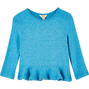 Mini girls blue peplum top
