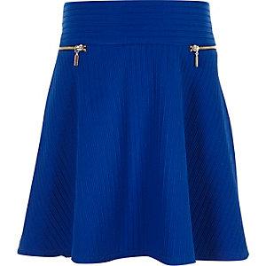 Girls bright blue ribbed skater skirt