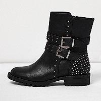 Girls black buckle heeled biker boots