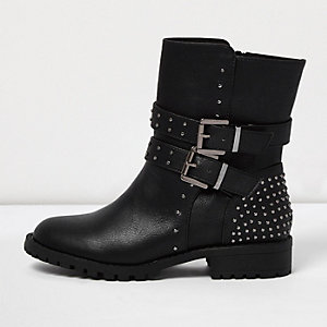 Girls black buckle heeled biker boots