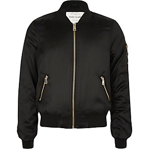 Girls black satin bomber jacket