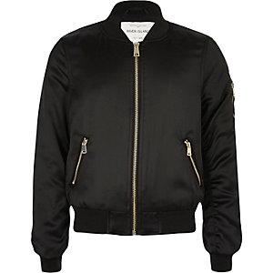 Girls black satin bomber jacket