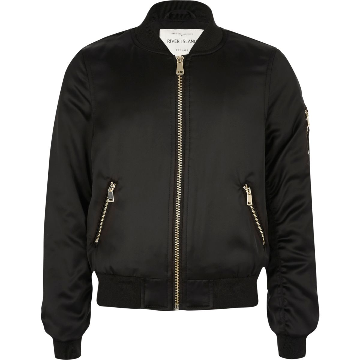 Girls black satin bomber jacket - Coats & Jackets - Sale - girls