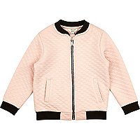 Mini girls pink quilted bomber jacket