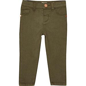 Kakigroene skinny jeans voor mini girls
