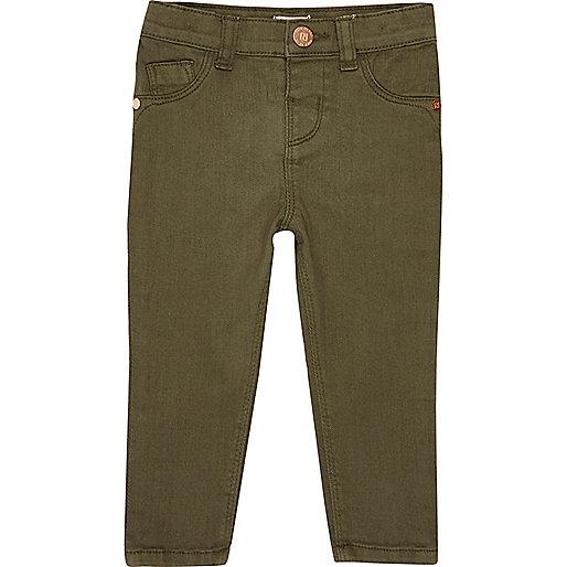 Mini girls khaki green skinny jeans