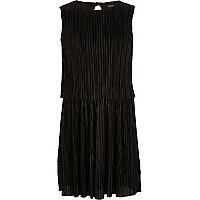 Girls black double layer pleated dress