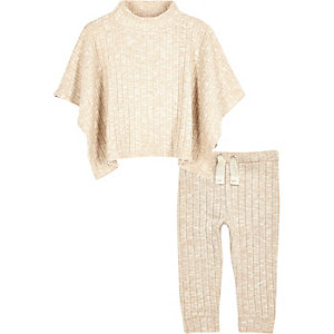Mini girls cream poncho leggings outfit