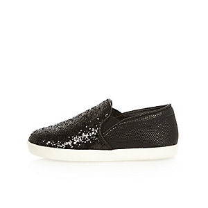 Mini girls black sparkle plimsolls